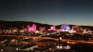 Stock Video Footage of TIMELAPSE Reno City Skyline at Night