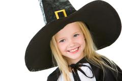 portrait of girl in black hat on white background - stock photo