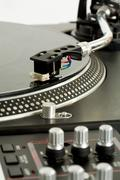 close-up of vynil turntable playing - stock photo