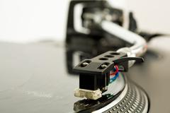 close-up of vynil disc playing - stock photo