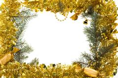 Christmas composition in form of frame over white background Stock Photos