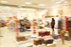 Image of blurred department in the trade center during movement Stock Photos
