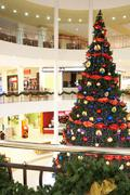 Image of big decorated christmas tree in the mall Stock Photos