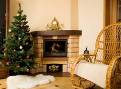 Photo of interior of room prepared for celebrating christmas day Stock Photos
