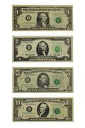 American dollars face value 1, 2, 5 and 10 dollars Stock Photos