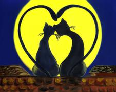picture of two black cats sitting on roof at night and looking at yellow moon - stock illustration