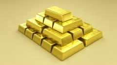 Gold bullion goldbar treasury wealth ingot luxury finance goods trading 3D Stock Footage