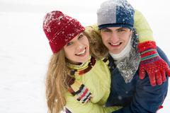 Portrait of joyful couple having a fun outdoor in winter Stock Photos