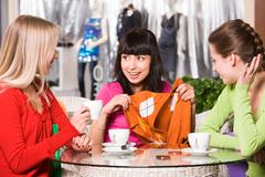 Photo of happy girl showing fashionable pullover to her friends in cafe Stock Photos