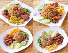 fry rice with the shrimp paste, thai food - stock illustration