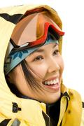 Profile of smiling girl with sport glasses Stock Photos