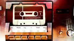 Cassettes changing in a retro tape player Stock Footage