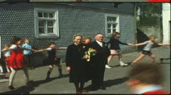 Stock Video Footage of Vintage 8 mm film: Rural golden wedding, Germany, 1960s