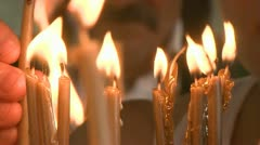 Light Candles Close - Up Stock Footage