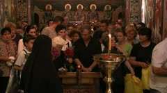 Faithfuls in the orthodox church Stock Footage