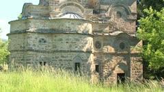 Orhodox Monastery Church Tilt Up XIV Century Stock Footage