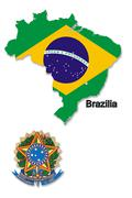 The map and the arms of brazil Stock Illustration