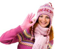 Image of cool girl showing sign of okay over white background Stock Photos