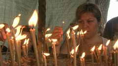 Woman Light Candle Stock Footage