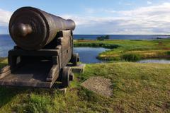 Old cannon in the kalmar castle Stock Photos