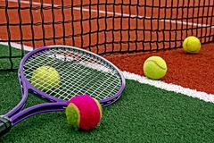 tennis balls & racket-5 - stock photo