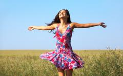 Photo of glad girl enjoying life in wheat meadow Stock Photos