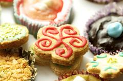 group of cupcakes and biscuits - stock photo