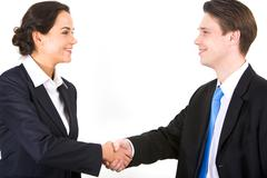 Photo of partners handshaking after signing contract Stock Photos