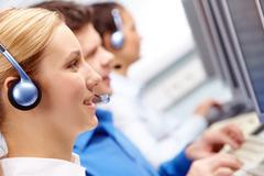 Group of customer representative working in the computer class Stock Photos