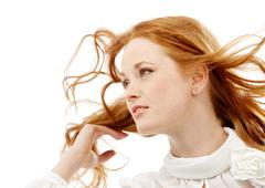 Image of beautiful young red-haired woman isolated on white background Stock Photos