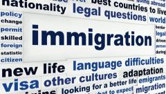 Immigration creative words conceptual design Stock Footage