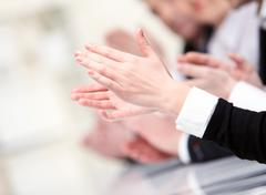 Photo of businesswoman's hands applauding at meeting Stock Photos
