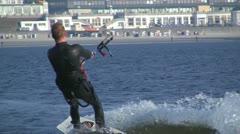 Kitesurfer, Borkum, North Sea, Germany Stock Footage