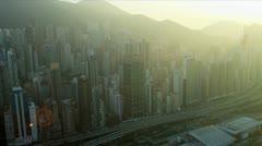 Aerial View at Sunset Victoria Peak Hong Kong Stock Footage