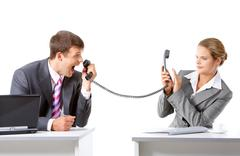 image of businessman screaming on the partner by telephone - stock photo