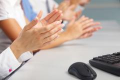 Photo of business partners hands applauding at meeting Stock Photos