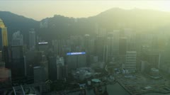 Aerial Waterfront View of Hong Kong Island  - stock footage