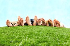 Image of several legs lying on the grass and resting Stock Photos