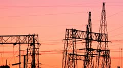 Silhouette of electrical substation Stock Footage