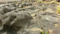 Volcanic Rock Formation 12 Fossil Falls California Stock Footage
