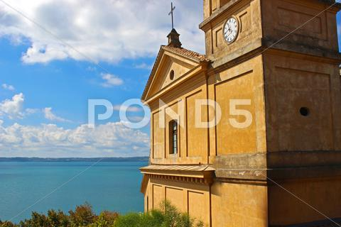 Stock photo of the church in the sea 3