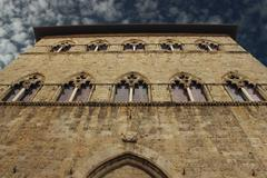 tuscan gothic building - stock photo