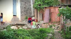 Family Playing in Capital City of Madagascar. Stock Footage