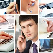 Collage with business people, telecommunication and other office objects Stock Photos