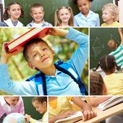 Collage of schoolchildren and studying process moments Stock Photos