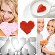 Collage of valentine day symbols and amorous people Stock Photos