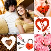 collage of valentine day symbols and amorous people - stock photo