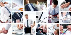 Collage of business teams, technology and partnership concepts Stock Photos