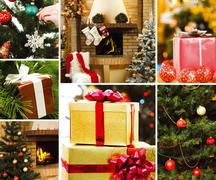 Collage of gifts and attributes of christmas Stock Photos