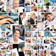 Collage with businesspeople at work and moments of their life Stock Photos